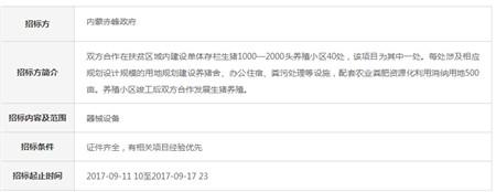 内蒙赤峰+中粮生猪养殖产业扶贫战略合作项目招标书