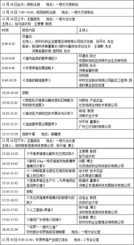 2017中原养猪产业发展论坛暨中原养猪产业链交流会(日程安排)