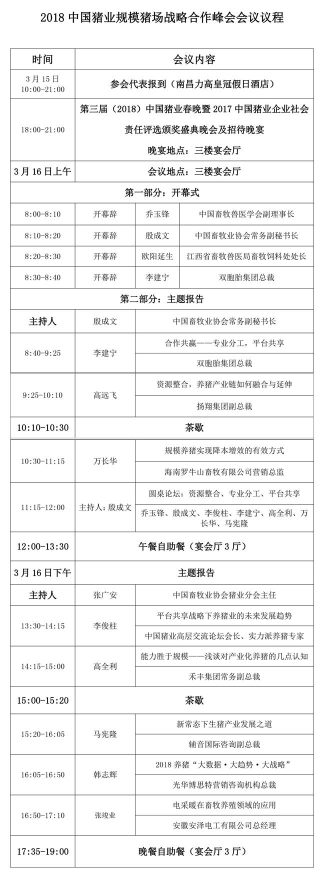 关于2018中国猪业规模猪场战略合作峰会会议日程通知